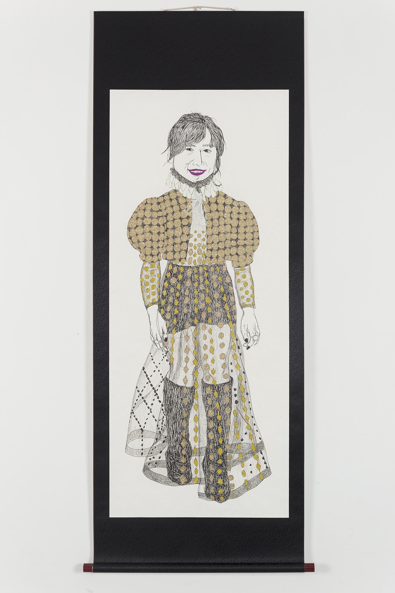 성지 언니, 170x64cm, 한지에 혼합재료, 2017